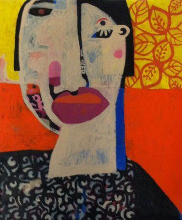 Helen Oprey Woman with Big Lips - 2014 Mixed media on linen 76 x 92 cm  Enquiries: info@19karen.com.au