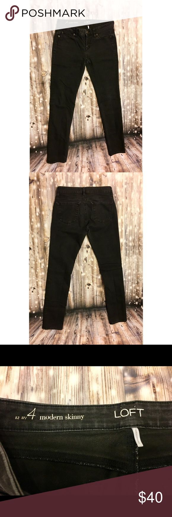 LOFT faded black modern skinny jeans Faded black modern skinny jeans, not super faded but definitely not pure black jeans, super cute stretchy and comfortable, matches anything and everything, great for winter with boots/booties. LOFT Jeans Skinny