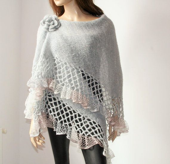 Knit Crochet Shawl Mohair Grey Silver/ Triangle Shawl silver.#knitting #crochet #shawl #handmade