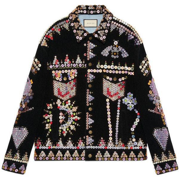 Gucci Corduroy Jacket With Buttons Embroidery (€5.005) ❤ liked on Polyvore featuring men's fashion, men's clothing, men's outerwear, men's jackets, denim, men, ready to wear, mens button up jacket, gucci mens jacket and mens corduroy jacket