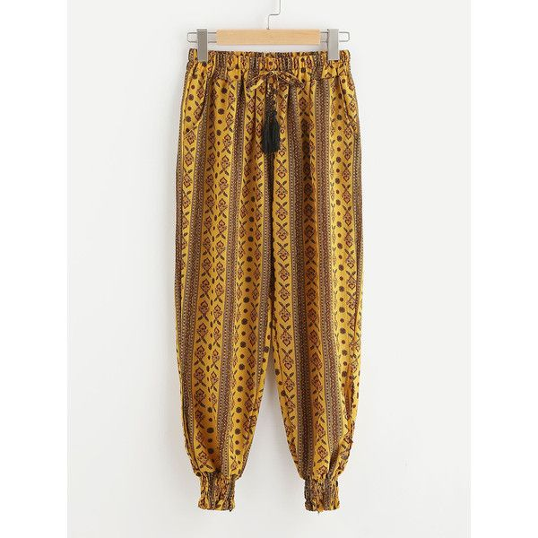 Aztec Print Drawstring Waist Harem Pants ($20) ❤ liked on Polyvore featuring pants, drawstring trousers, aztec print harem pants, aztec harem pants, aztec print pants and white harem pants