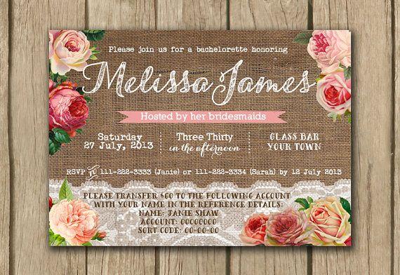 burlap lace bridal shower invite rustic by DulceGracePrintables, $14.00
