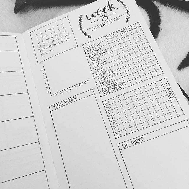 "I decided to join the #bulletjournal craze, and now I'm addicted. There's so much to love! Customized planning, hand lettering practice, and a record of what needs to be done and what has been done! I'm trying different spreads for every week and I can't wait to get to this one! Instead of trying to do ""less Facebook"", I'm just filling time better and the result is...less Facebook! #bujo #resolutions2017"