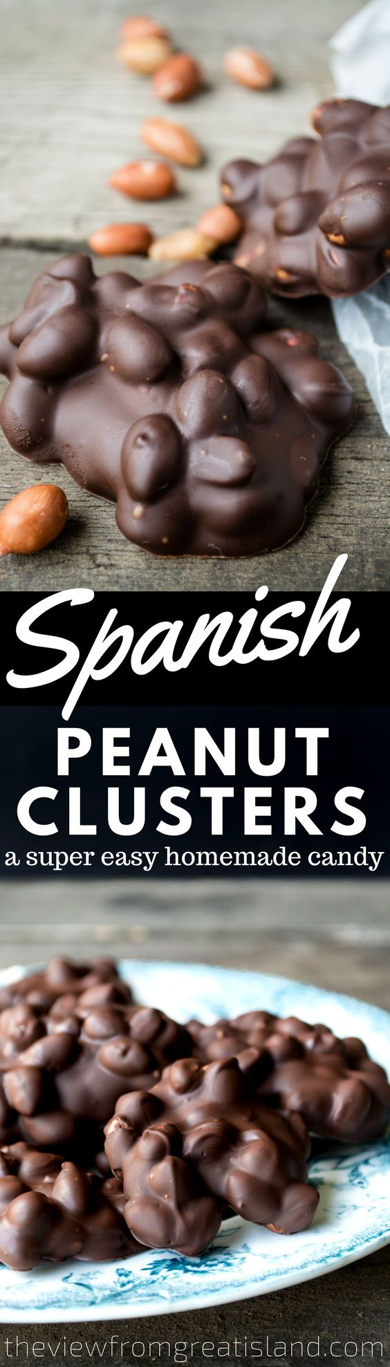 Spanish Peanut Clusters are the easiest homemade candy ever, and everyone goes 'nuts' for them! #candy #bark #chocolate #peanuts #nuts #nutcandy #homemadecandy #peanutbark #dessert #holidaycandy #foodgift #holidayfoodgift #Christmascandy #candyrecipe #nutclusters #glutenfreedessert
