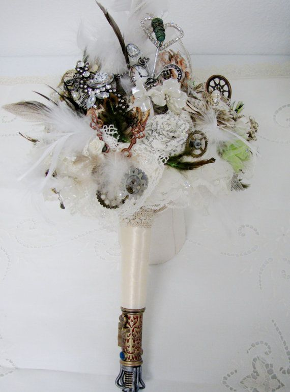 Vintage Or Steampunk Wedding Flowers Bride And Bridsmaid Bouquets Boutaneers Garters On Etsy