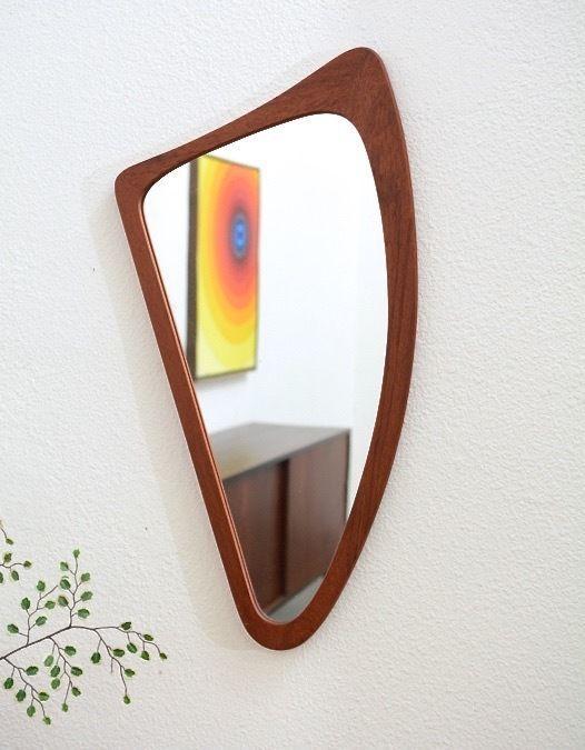 1950s Danish Modern Vintage TEAK Biomorphic Boomerang Wall Mirror Mid Century