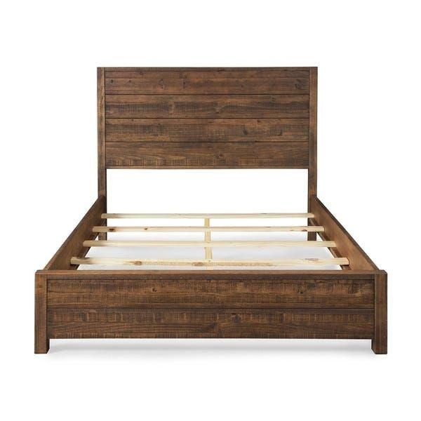 Bedding Furniture, Grain Wood Furniture Montauk Queen Solid Panel Bed Rustic Walnut