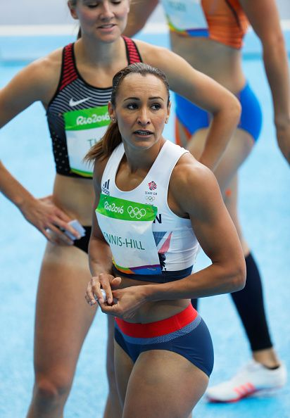 #RIO2016 Jessica Ennis-Hill of Great Britain reacts after competing in the Women's Heptathlon 100 Meter Hurdles on Day 7 of the Rio 2016 Olympic Games at the...