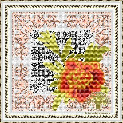 Azulejos Series - Marigold (Blackwork + Cross stitch) - Tree of Dreams | Custom cross stitch, Blackwork, Hardanger patterns and more