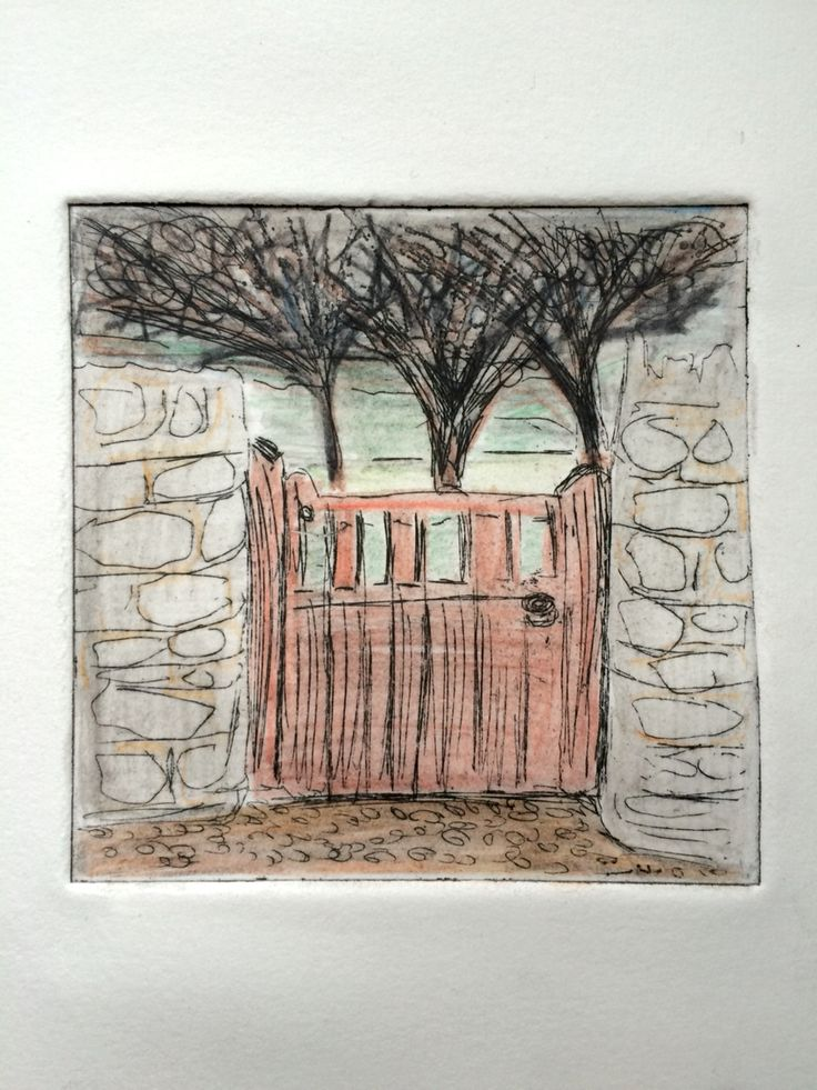Jo Hannah. Gate 4. Garden Gate. Etching & Watercolour Pencil.