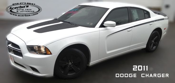 White Dodge Charger With Hood Decals Side Stripes Door