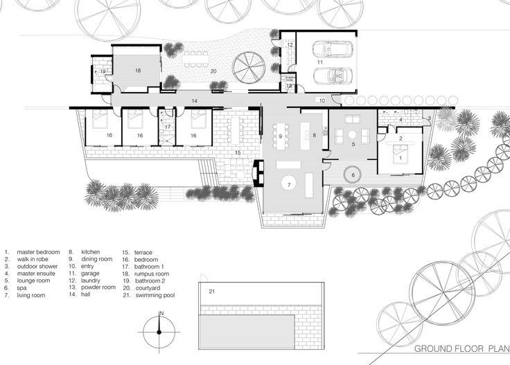Gallery of Cedar Lane House  Edward Birch  18  Floor Plans  House floor plans Floor plans Ground floor plan