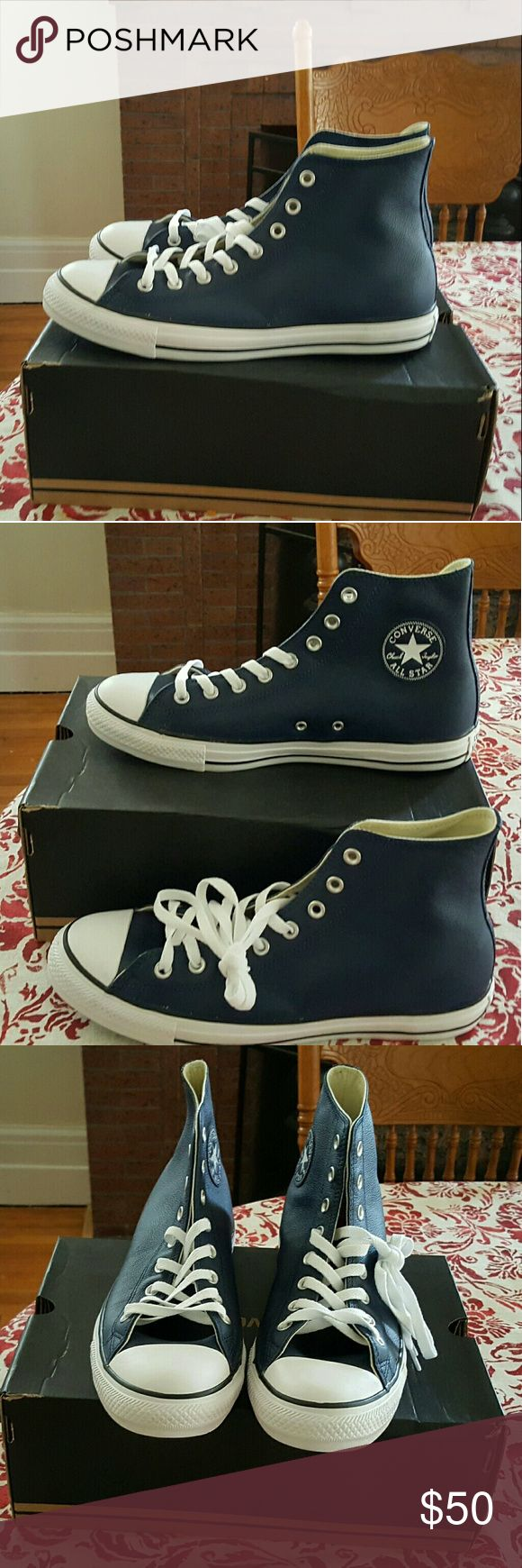 Blue leather converse Chuck Taylor Blue leather Converse Allstars never worn Converse Shoes Sneakers
