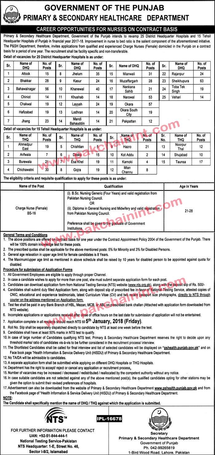 GOVERNMENT OF PUNJAB PRIMARY & SECONDARY HEALTHCARE DEPARTMENT CAREER OPPORTUNITIES FOR NURSES ON CONTRACT BASIS Primary 8 Secondary Healthcare Department. The government of Punjab intends to revamp 25 District Headquarter Hospitals and 15 Tehsil Headquarter Hospitals of Punjab in the financial year 2017-18.   #Advertisement #Application #Authority #ComputerOperator #DEPARTMENT #GOVERNMENTOFTHEPUNJAB #Jobs #jobs2017 #NTS #TodayJobs