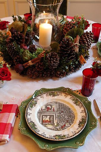 pine cone centerpiece with holiday china