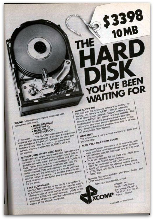 10MB Drive for $ 3398.00.. Today you can get a 1TB drive for $ 85.00.. 1TB is about 100,000 times larger than 10MB..#ThrowbackThursday