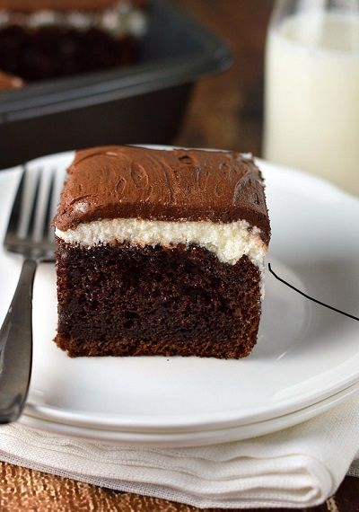 Chocolate cream cake combines my two favorite frostings over the best chocolate cake ever!