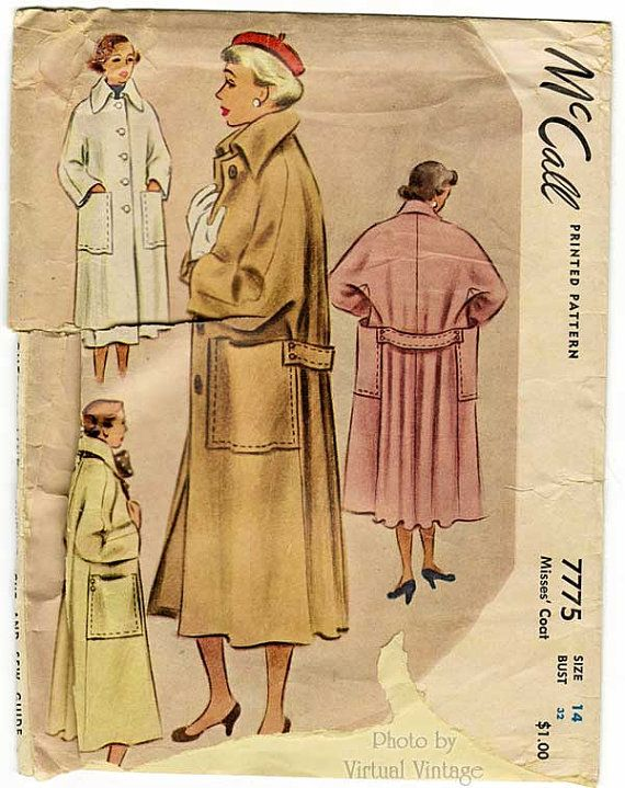 Vintage 40s Womens Trench Coat Pattern McCall by VirtualVintage