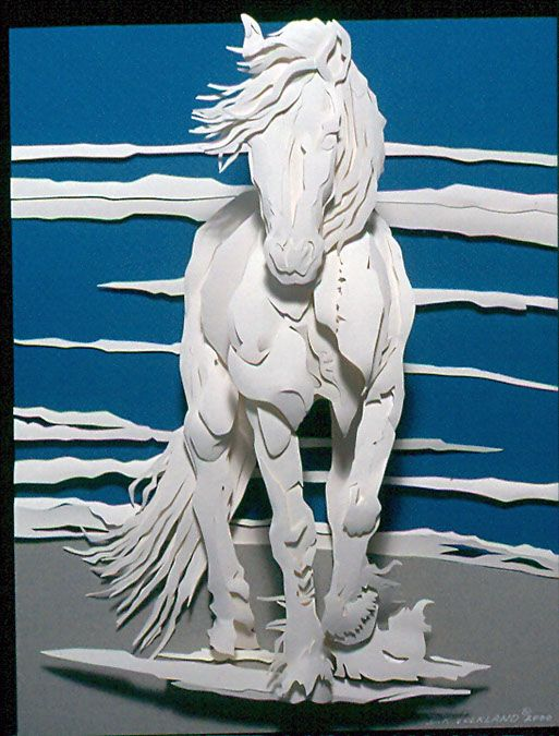"""Dreaming - 11"""" x 14"""" I can build custom sculptures in whatever size you need!   Debra Volkland Creative   #PaperSculpture #HorseArt"""
