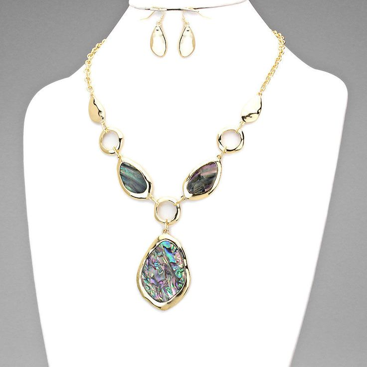 Statement Chunky Abalone Shell Pendant Gold Chain Necklace Earrings Set Jewelry  #DazzledByJewels #Statement