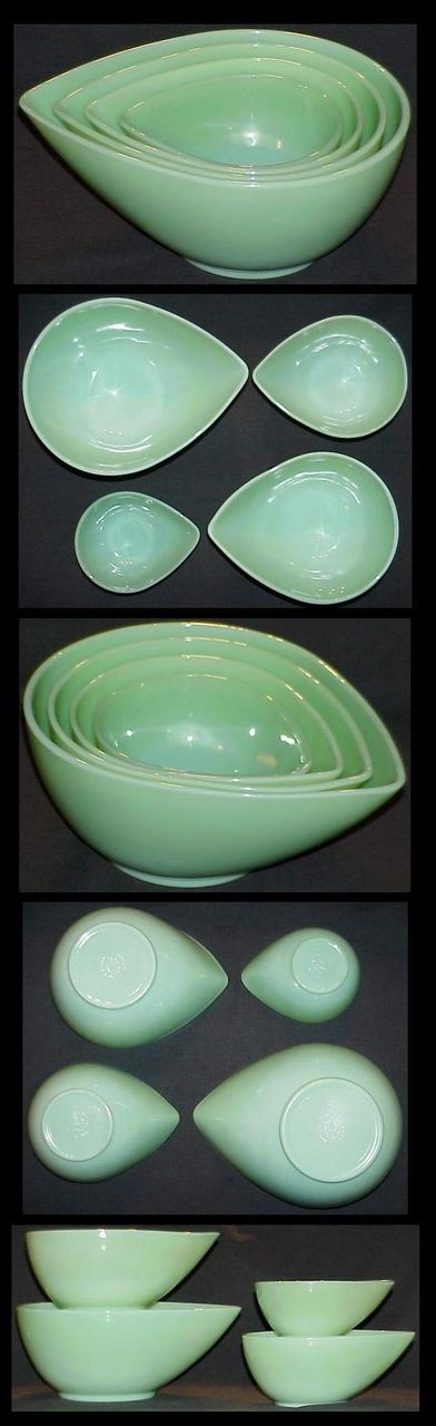 Fire King Jadeite Tear Drop Nesting Mixing Bowl Set ...