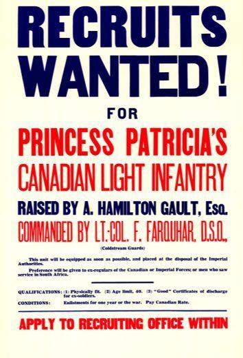 Princess Patricia's Canadian Light Infantry Recruitment poster.