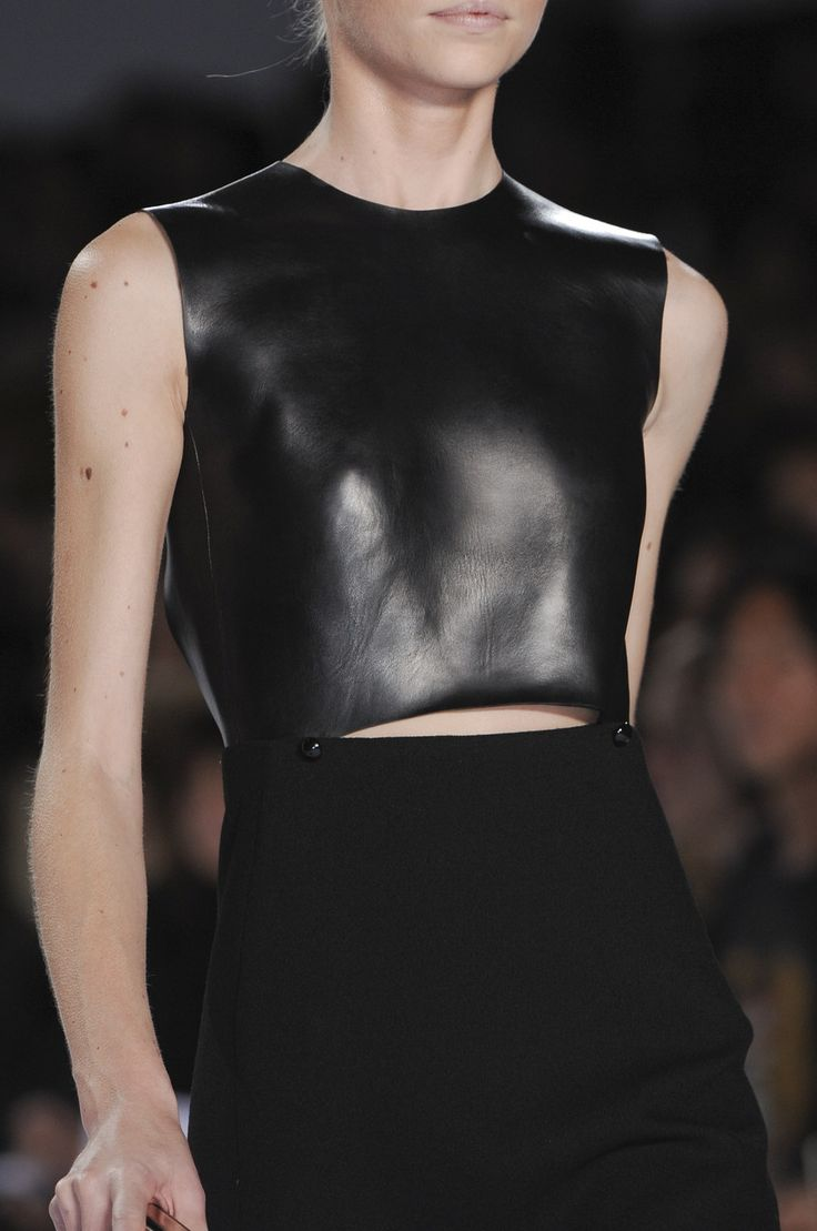 Chic black dress with leather top; runway fashion details // Chloe: