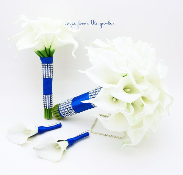 Wedding Flowers Real Touch Calla Lily Bridal & Bridesmaid Bouquets White Calla Lilies Royal Blue Ribbon