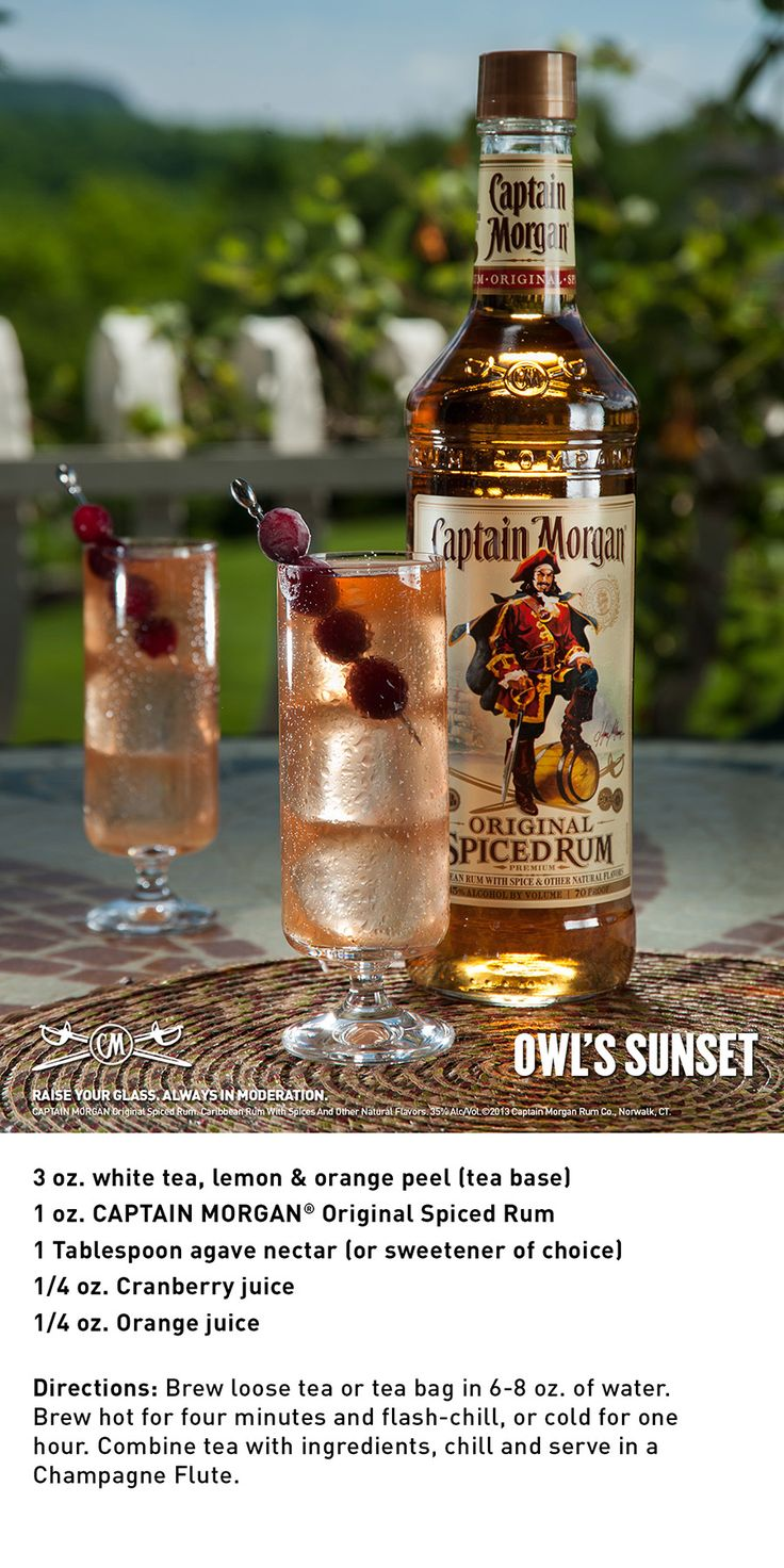 Owl's Sunset with Captain Morgan Original Spiced Rum is a delicious afternoon cocktail.