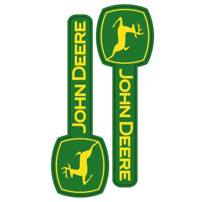 "John Deere logo self-adhesive exterior use car decal/stickers. - 2 pieces. - UV coated for long lasting outdoor use. - Packaged size 3""W x 7""H. Actual sticker size vary. - Made in USA LP66192"