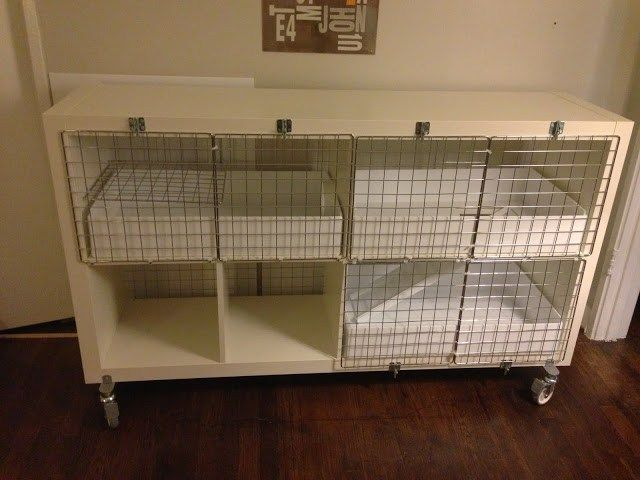 Materials: Expedit 2×4, Besta Casters, Cage Grids, Zip Ties, Cable Clamps, Window Bolts, Screws, 4″ PVC Pipe Connector, Coroplast Description: I wanted a larger cage for my guinea pig, that also would fit into our modern mid century home. I also wanted something that I could clean easily clean and maneuver around when needed. Inspired …