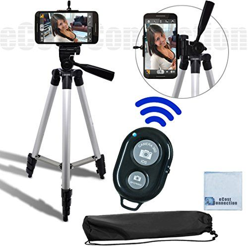 """50"""" Inch Aluminum Camera Tripod + Universal Tripod Smartphone Mount + Bluetooth Wireless Remote Control Camera Shutter For LG G3, LG G FLEX 2, LG G FLEX, LG G2, LG NEXUS 5, Motorola Nexus 6, Motorola Droid Turbo, Motorola Moto G, Motorola Moto X (2nd Generation), Motorola Moto X Pro, Motorola Moto G, Motorola Moto X and Many More Smartphones + eCost Microfiber Cleaning Cloth with fast, FREE Shipping    #carscampus #sale #shop #cars #car #campus"""