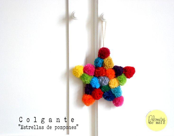 Colgante Decorativo Estrella de pompones
