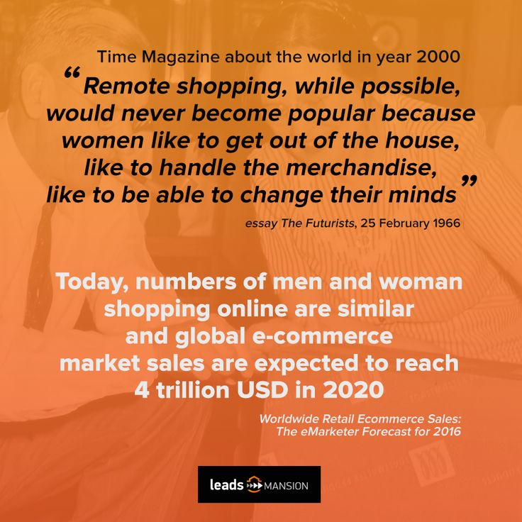 We're not as old to remember that essay in Time Magazine from 1966, but we're totally sure that its author was completely wrong :) Make your e-commerce stronger! 💪💪💪  And have a nice shopping day! 👟👕👛 https://leadsmansion.com/en/performance-marketing