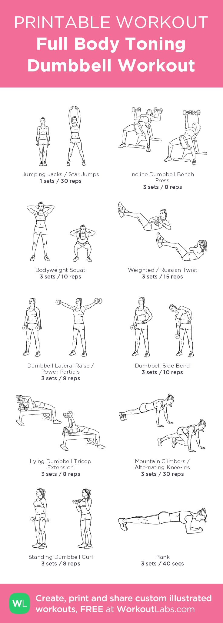 Full Body Toning Dumbbell Workout: my visual workout created at WorkoutLabs.com • Click through to customize and download as a FREE PDF! #customworkout