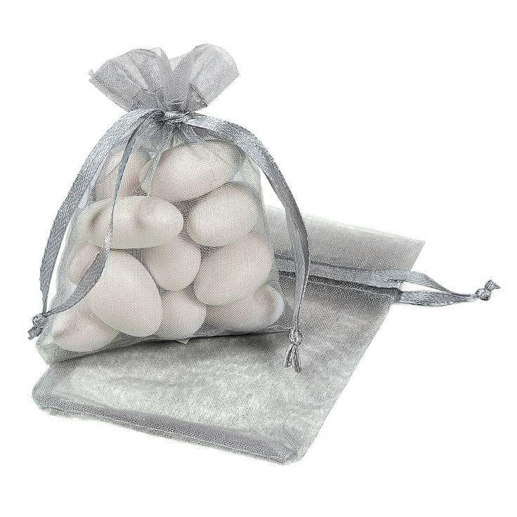 Mini Silver Drawstring Bags - OrientalTrading.com