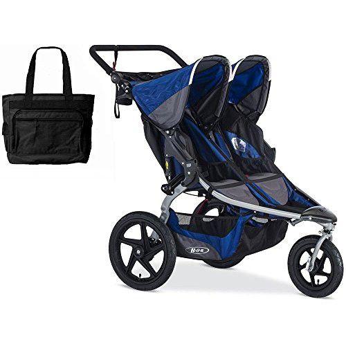 BOB Blue Stroller Strides Duallie Stroller with FREE Stylish Diaper Bag