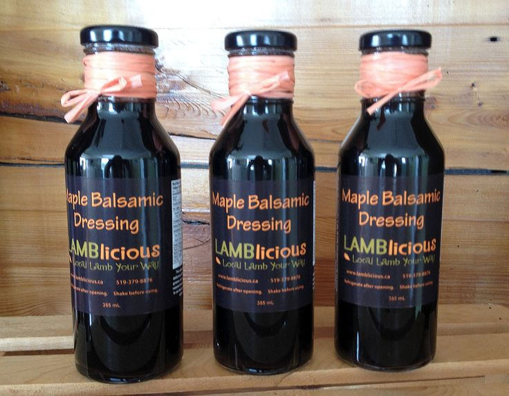 Maple Balsamic Dressing, with local maple syrup.  An excellent meat marinade or salad dressing.  Drizzle on veggies or use as a bread dip!  www.lamblicious.a
