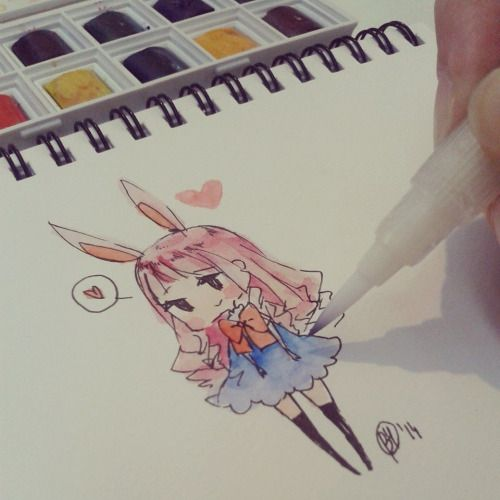 art chibi cute manga watercolor watercolour doodling yennineii •