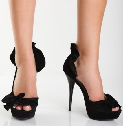 Colada 06 Black Ruffle Rage Faux Suede Heel by Anne Michelle