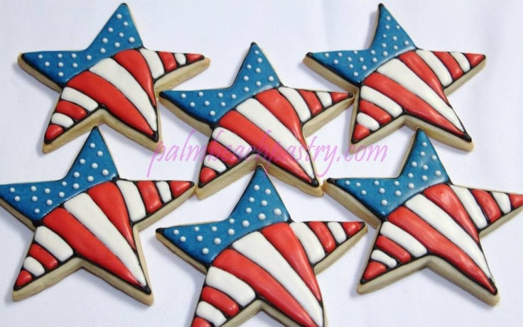 Patriotic Theme American Flag Star shaped Sugar Cookies with Royal Icing. Palmbeachpastry.com