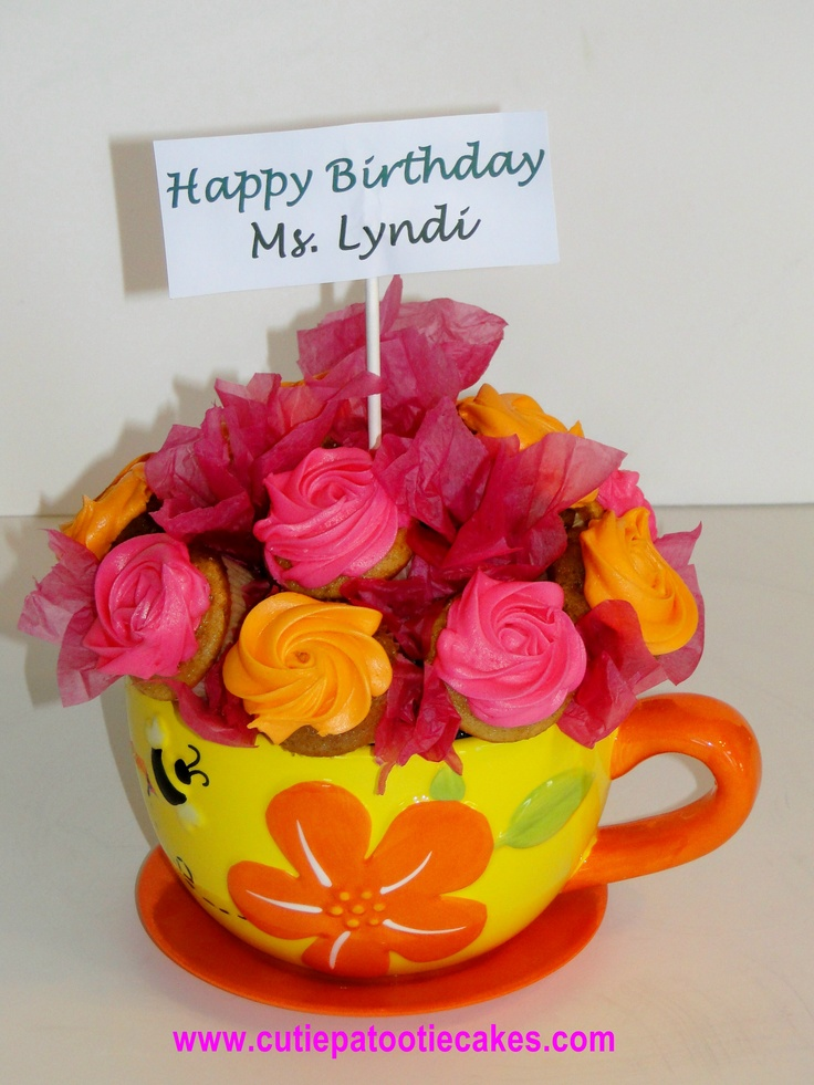 Mini Cupcakes in a Colorful Flower pot!  Perfect for a gift!