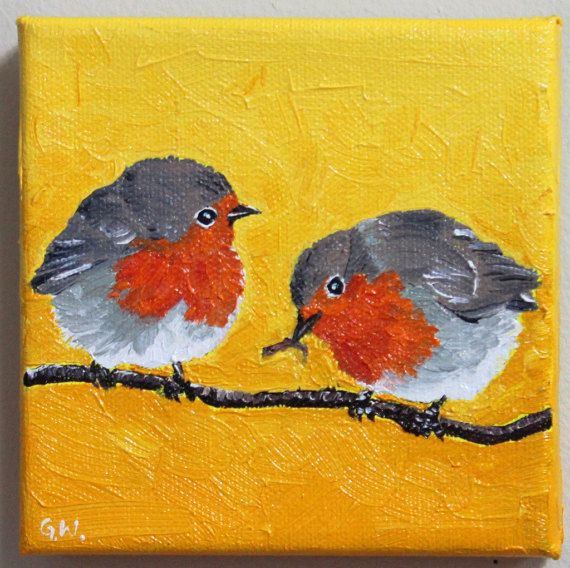 Check out this item in my Etsy shop https://www.etsy.com/ca/listing/504734414/red-robin-painting-oil-painting-birds