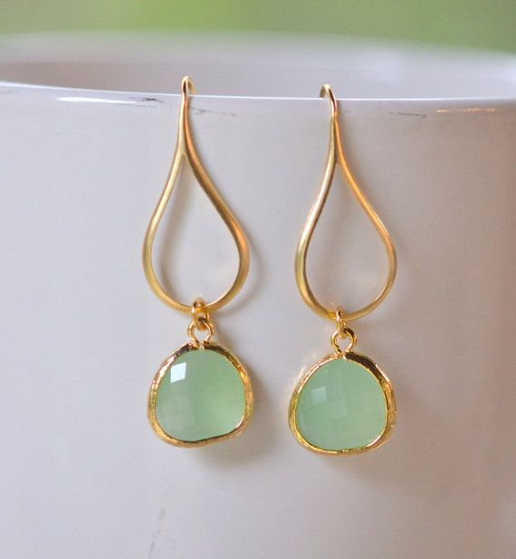 Mint Drop Earrings.  Mint Teardrop Drop Earrings in Gold.  Gift for Her.  Dangle Earrings. Modern Drop Earrings. Free Shipping.