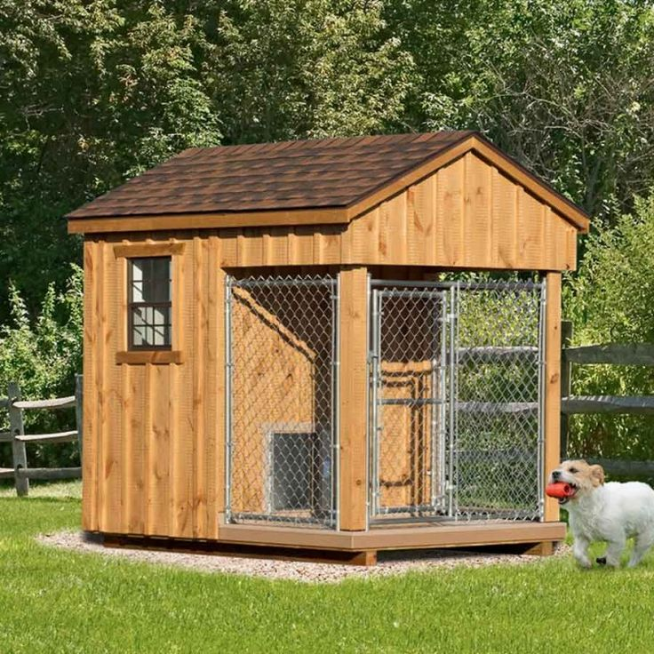 25 best amish dog kennels images on pinterest dog houses for Dog kennel shed combo plans
