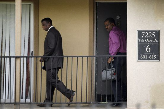 At the Ivy Apartments then they both go to a press conference. Dallas County Health and Human Services Director Zachary Thompson and Medical Director Christopher Perkins.Walking out in the same clothes as they were in at news conference. https://www.youtube.com/watch?v=8iVILn5omm4#t=1071
