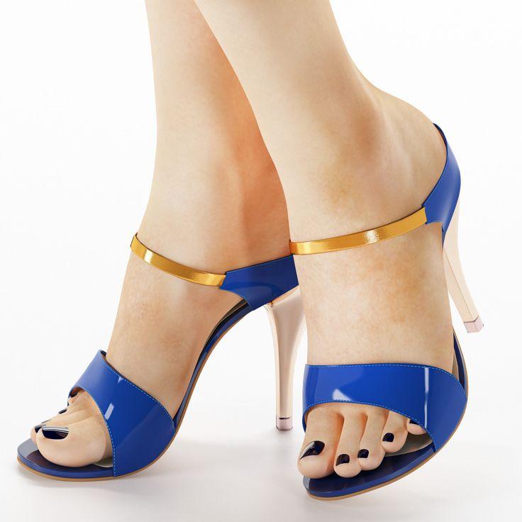 heels women sandals 3d model