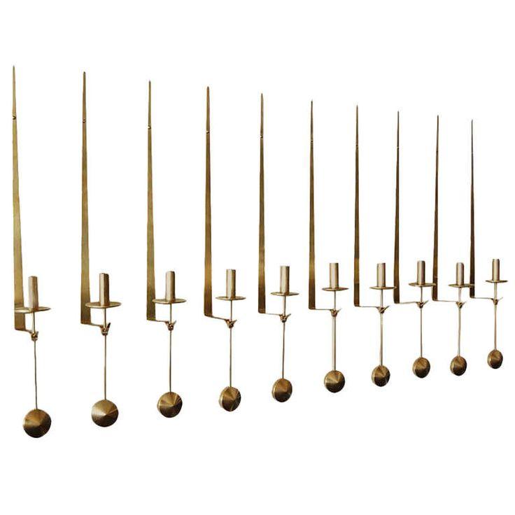 "Pierre Forsell Set of Ten ""Pendulum"" Wall Mounted Brass Candlesticks | From a…"