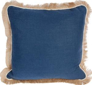 #12 Navy Linen w/ Eggshell Pipe & Jute Fringe Pillow