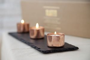 """Copper And Slate Candle Set 